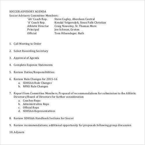 soccer agenda template
