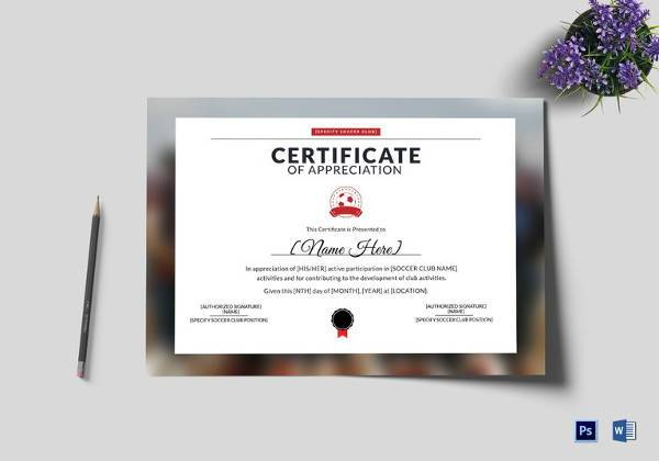 Soccer Certificate Template   Download Free Documents In Psd Pdf