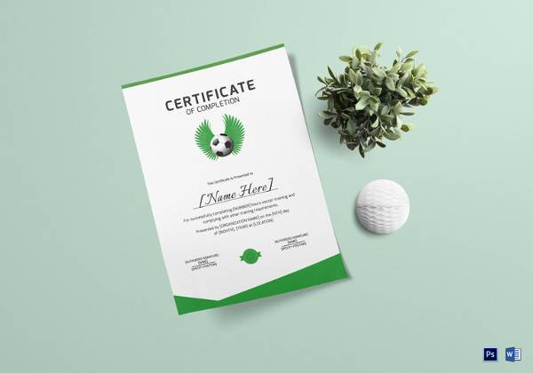 soccer completion certificate template