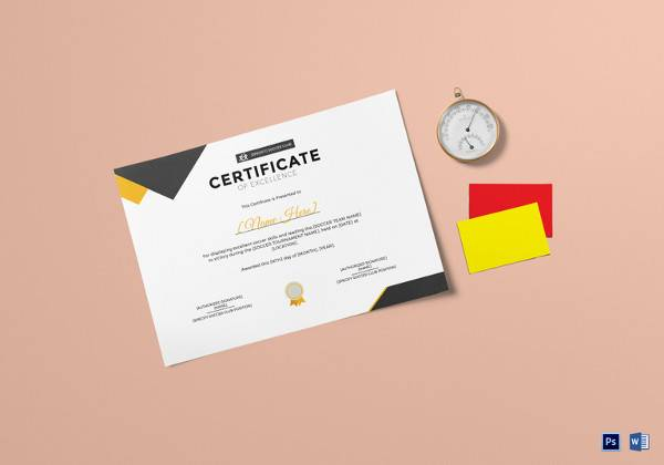 soccer excellence certificate template