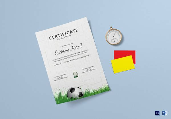 soccer training certificate template