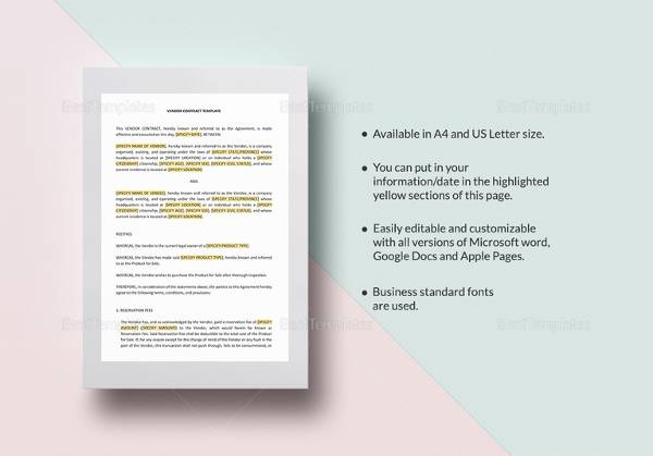 14 vendor contract templates samples examples format sample