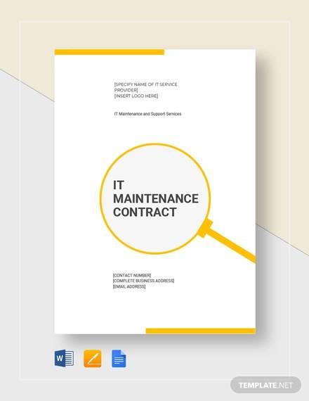 it maintenace contract