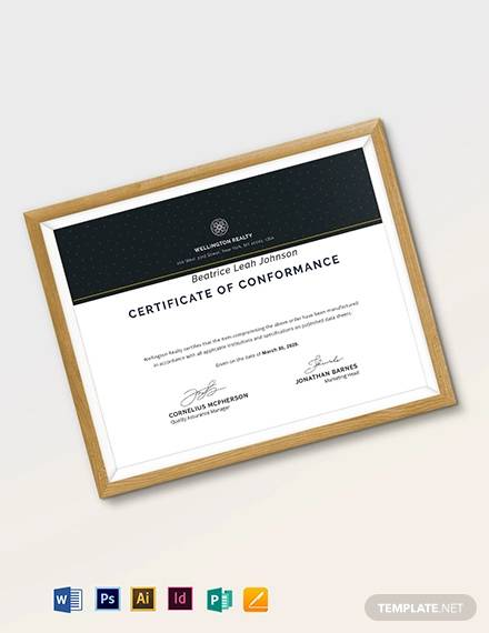 supplier certificate of conformance