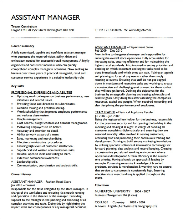 bank assistant manager resume