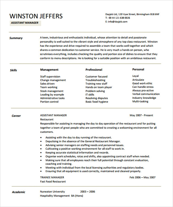 restaurant assistant manager resume