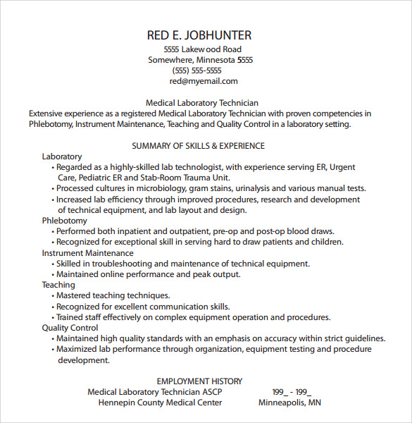 Phlebotomy Resume Template - 6+ Download Free Documents In PDF , Word ...