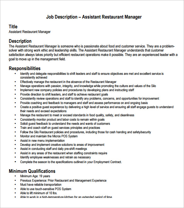 Download Assistant Manager Resume  Restaurant Assistant Manager Resume