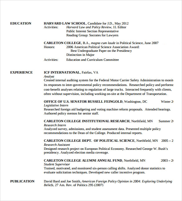 sample legal resume template