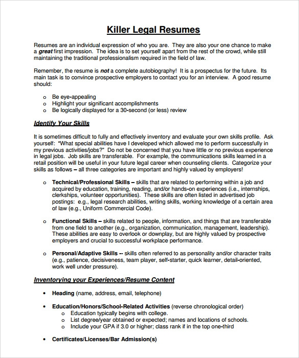 sample legal resume pdf