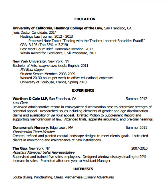 example of legal resume