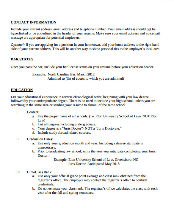 Sample Legal Resume Template   Free Documents In Pdf Word