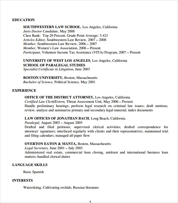 download legal resume pdf