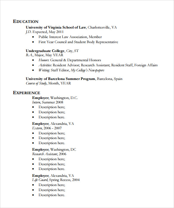 prinatble legal resume template