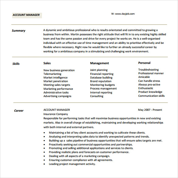 Sample Account Manager Resume   Download Free Documents In Pdf Word