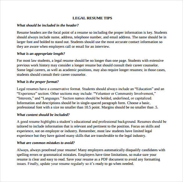 law student sample resume