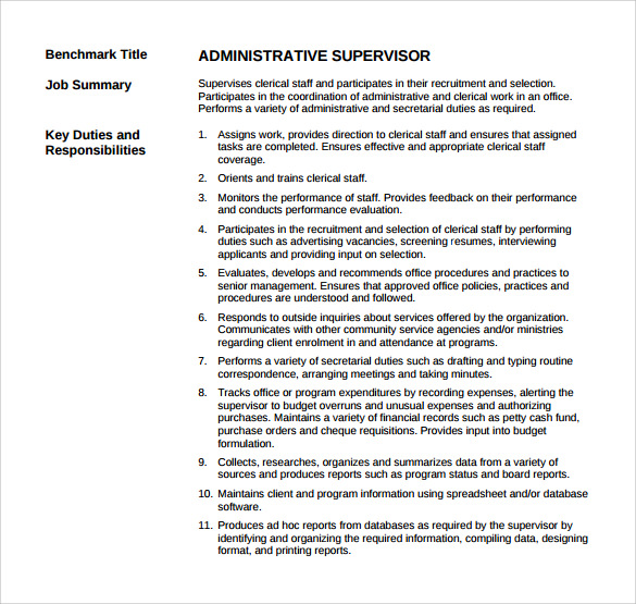 Sample Supervisor Resume   Download Free Documents In Pdf Word