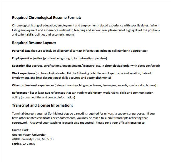 supervisor resume format