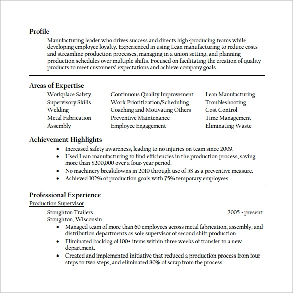 sample supervisor resume