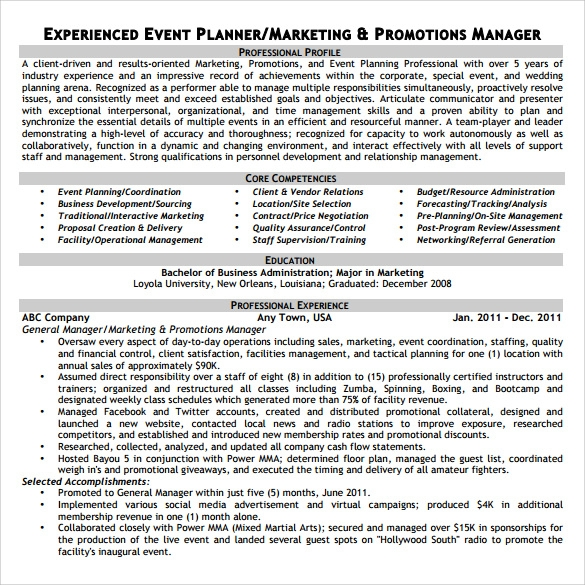 Sample Event Planner Resume 7 Documents in PDF Word – Event Coordinator Contract Sample