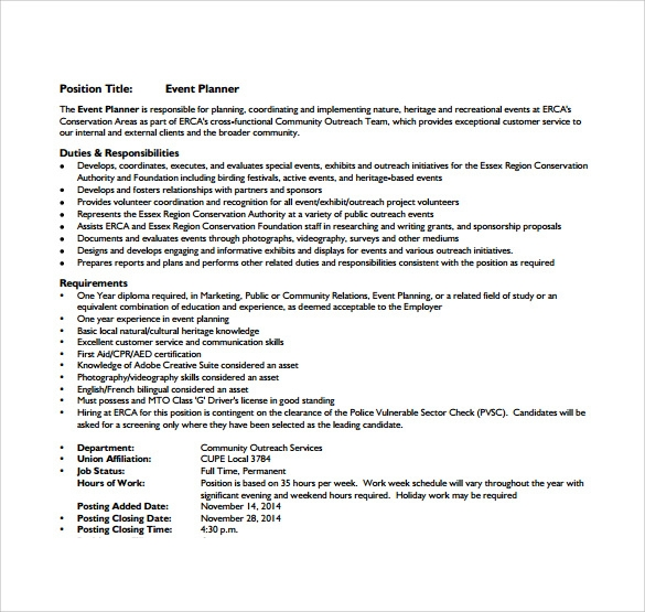 event planner resume coordinator assistant sample wedding planning