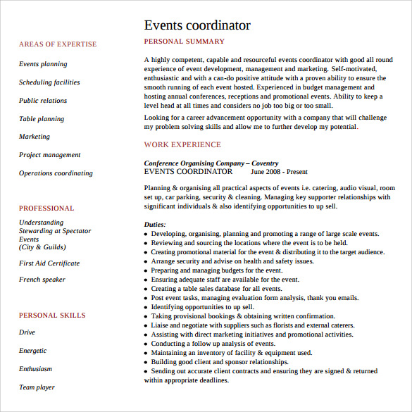 Sample Event Planner Resume   Documents In Pdf Word