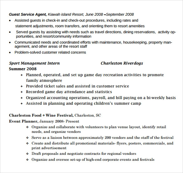 sle event planner resume 9 free documents
