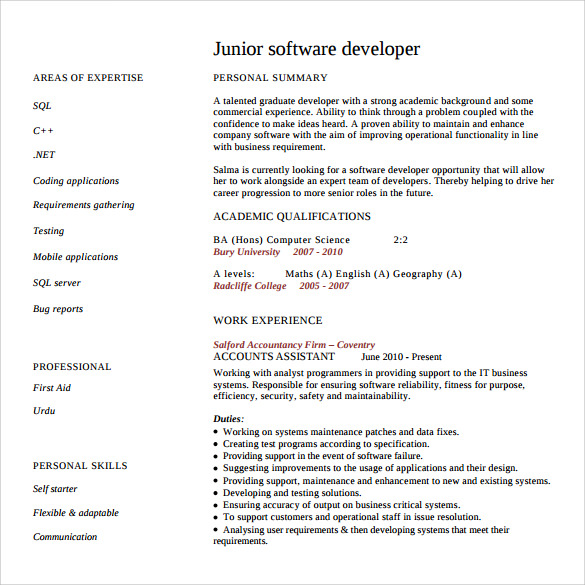 junior software developer resume