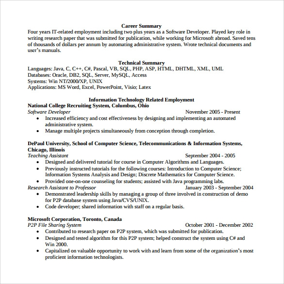 Sample Software Developer Resume   Free Documents Download In