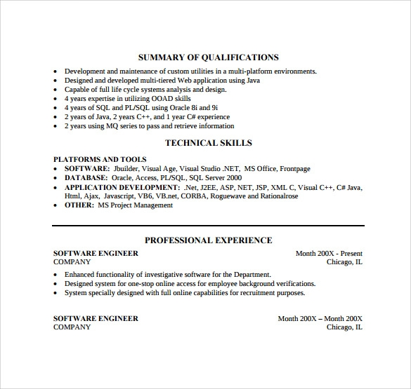 senior software developer resume