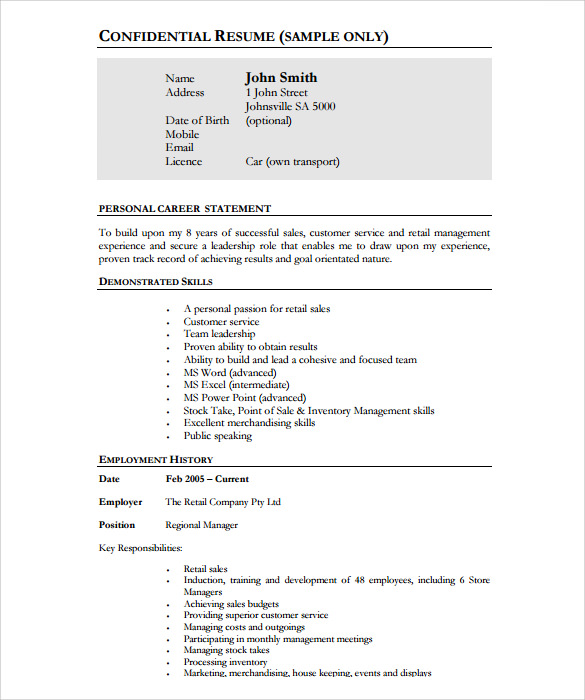 Store Keeper Resume Indianjobtalks Induced Info