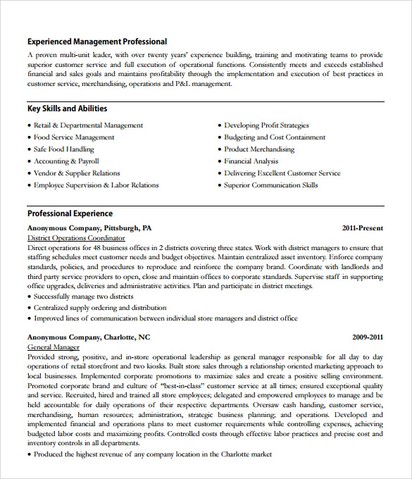 store manager resume 10 download documents in pdf sample