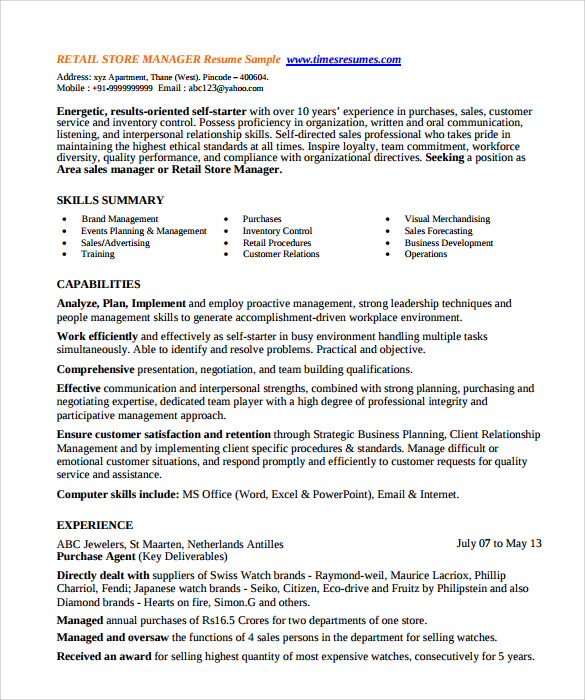 store manager resume sample sample store manager resume free documents pdf objective example