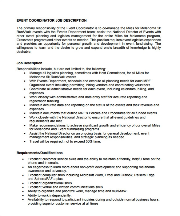 Sample Event Coordinator Resume   Documents In Pdf