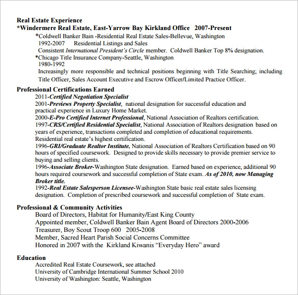 Sample Real Estate Resume - 14 + Download Free Documents in ...