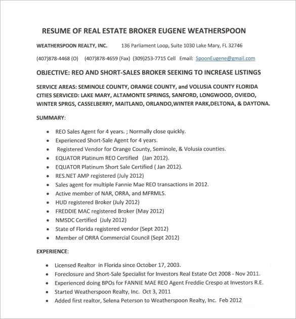 resume of real estate broker - Real Estate Resume