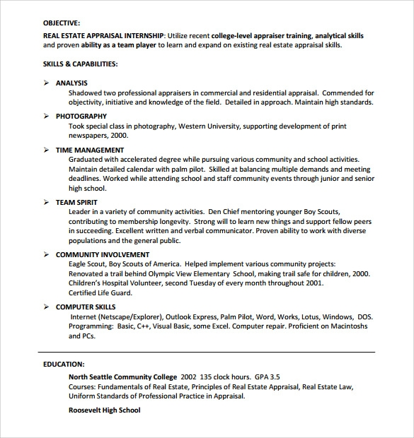 Real Estate Resume. Real Estate Resume Free Resume Templates