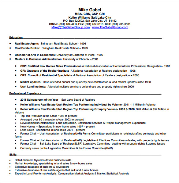 sample real estate resume