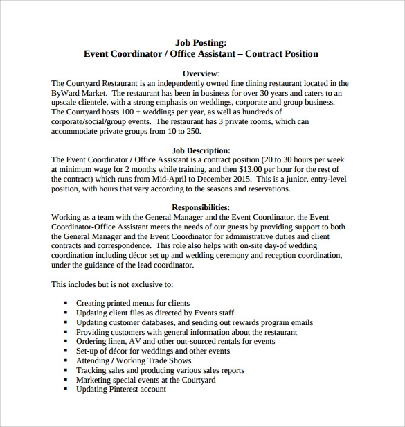 free 8  sample event coordinator resume templates in pdf