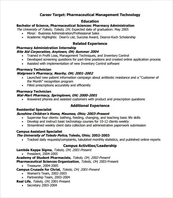 standard resume format for pharmacist