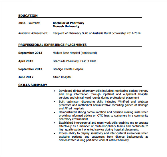 sample pharmacist resume pdf