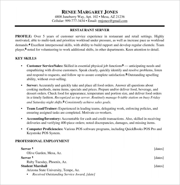 resume for food service