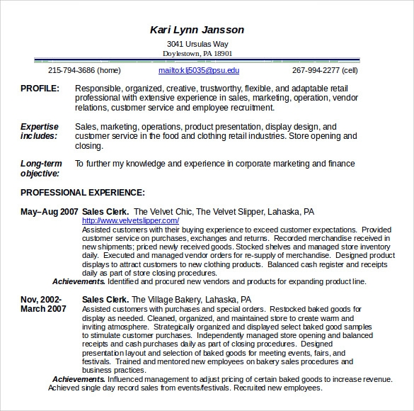 food service sample resume
