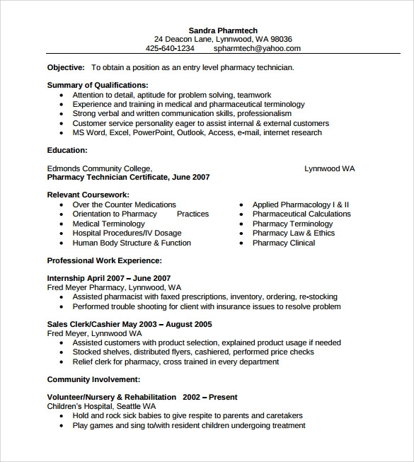 free sample pharmacist resume
