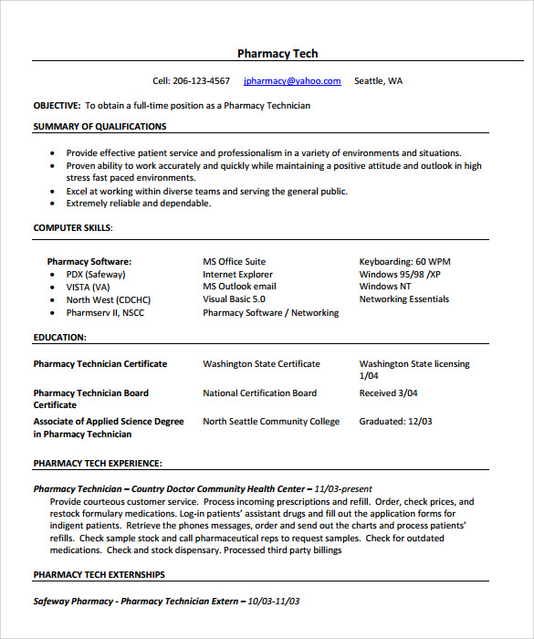 Pharmacy Resume Sainde Org