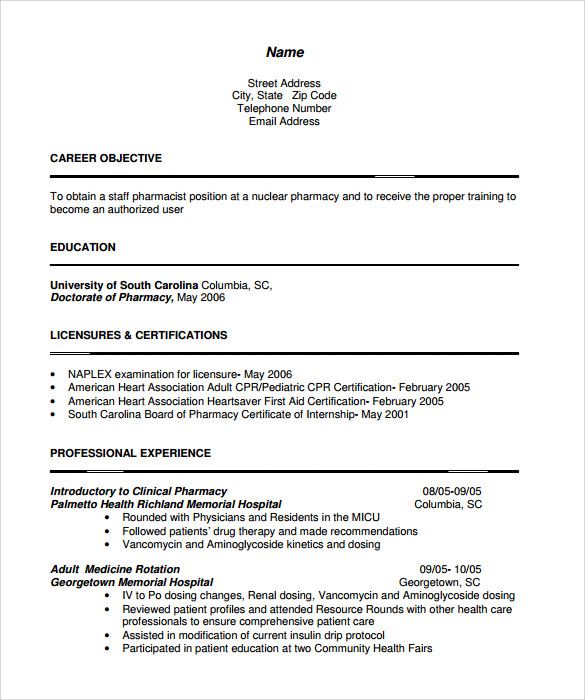 resume format for pharmacist pdf