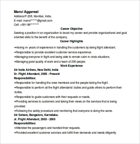 Sample Hostess Resume