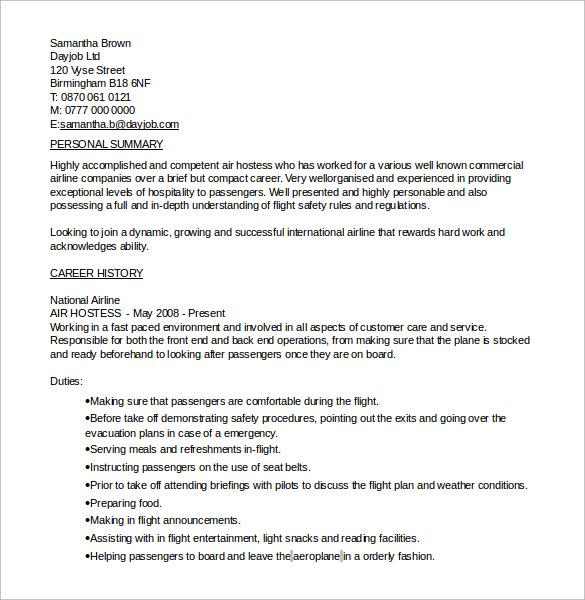 sample resume for hostess