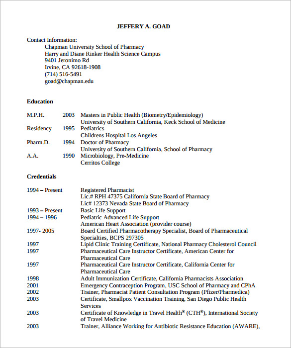 Sample Pharmacist Resume   Download Documents In Pdf
