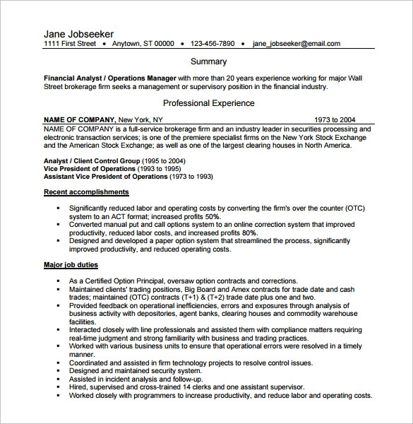sample resume of operations manager - Operations Manager Sample Resume